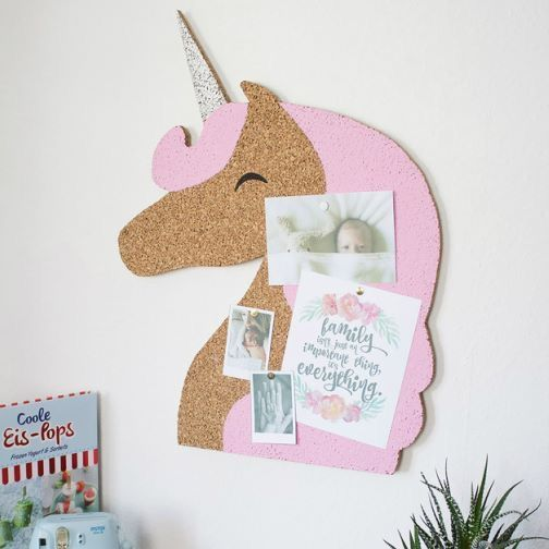 a unicorn cork memo board painted with pink is amazing for a kids' room