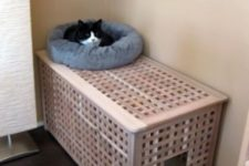 07 a comfy Hol table with a kitty loo inside and a kitty bed on top is stylish idea