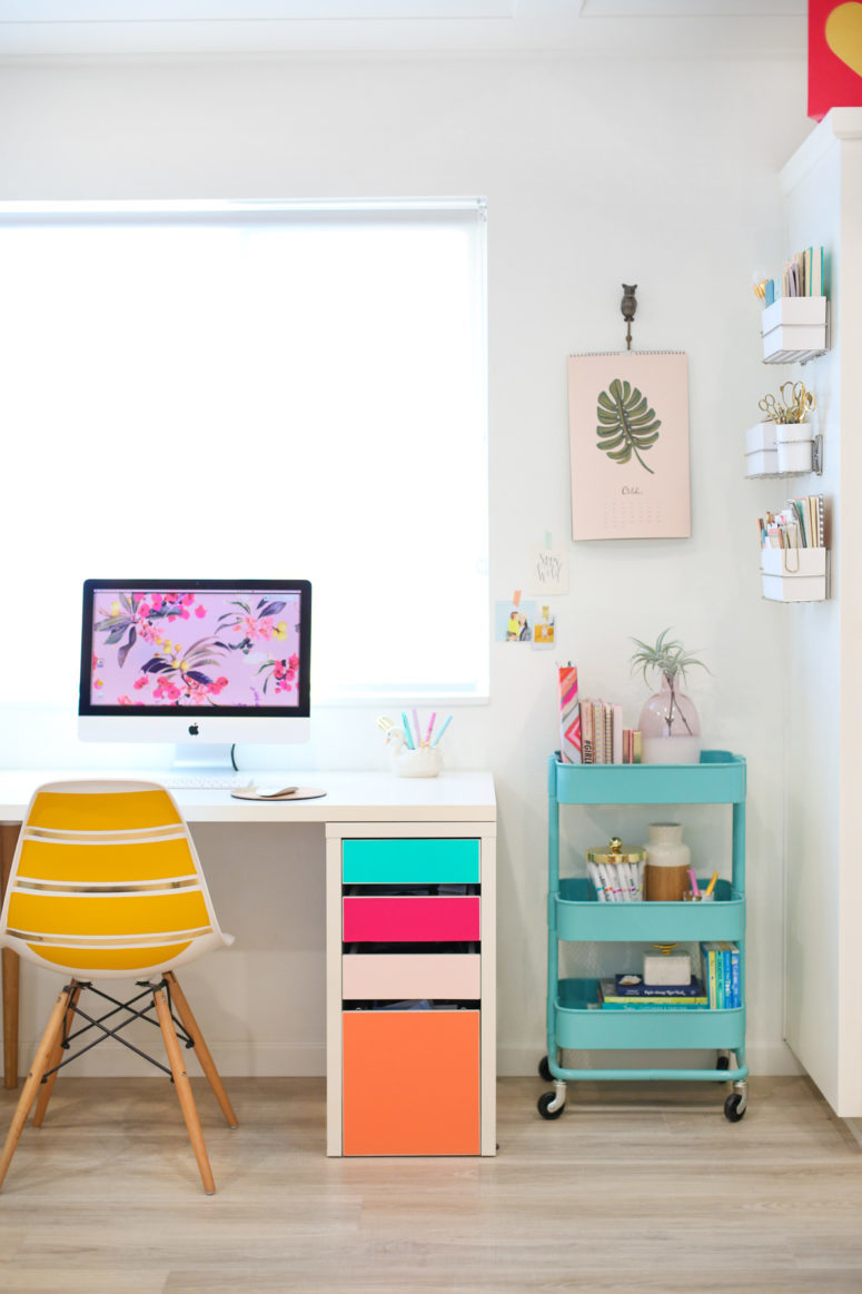 a lovely and colorful IKEA icke hack with colorful adhesive vinyl