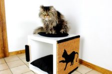 08 a scratching piece and cat bed in one made of IKEA Kallax unit