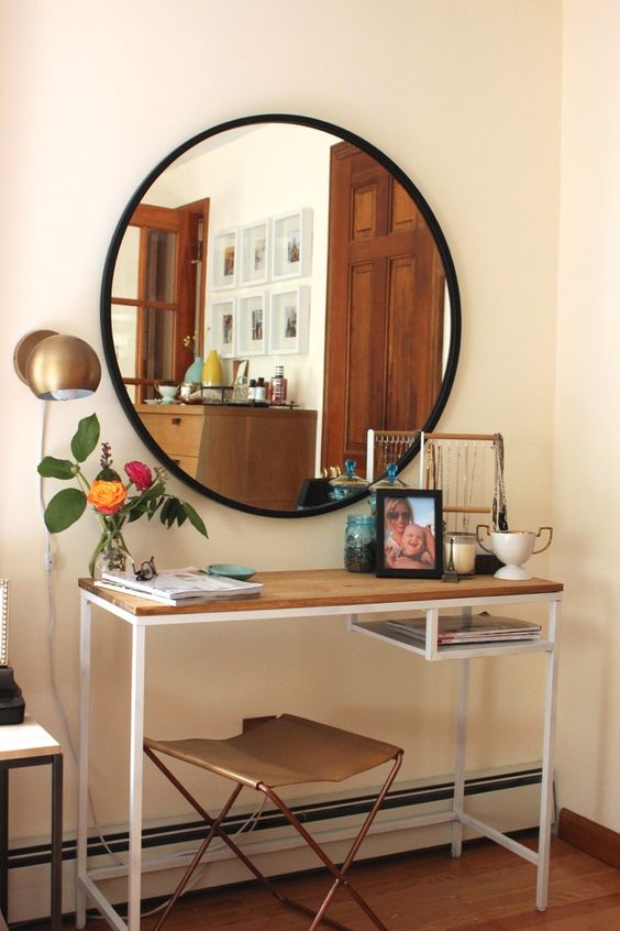 a stylish dressing table of an IKEA Vittsjo desk, a wooden tabletop to make it cooler