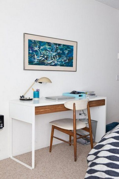a wooden drawer is a stylish idea for IKEA Micke desk to add chic and a natural touch to it