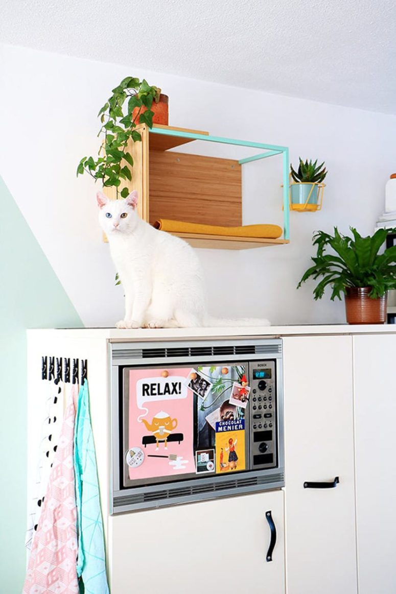 an IKEA box shelf with a sleeping space for your cat allows watching you from above, which cats like