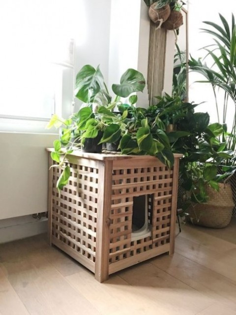 IKEA Hol hack to hide a small litter box and a plant stand in one