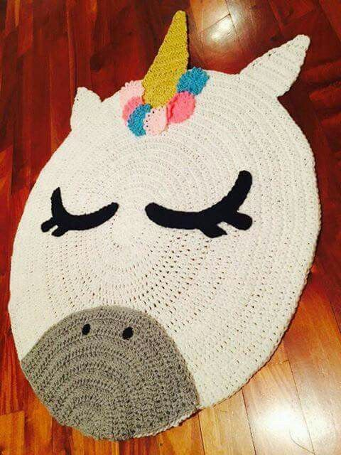 a crocheted unicorn rug is a fun idea for any space and you can DIY it if you are familiar with crocheting
