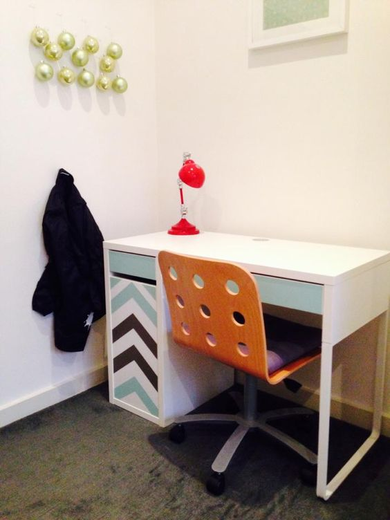 IKEA Micke desk spruced up with colorful chevron stenciling for a kids' space