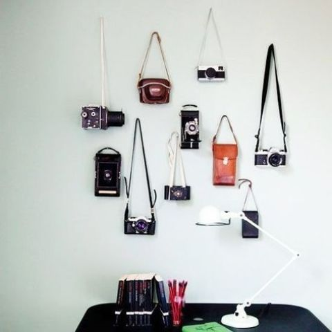 attach some hooks and hang your vintage cameras on the wall creating a display