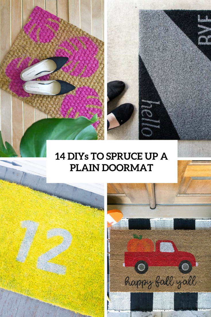 diys to spruce up a plain doormat cover