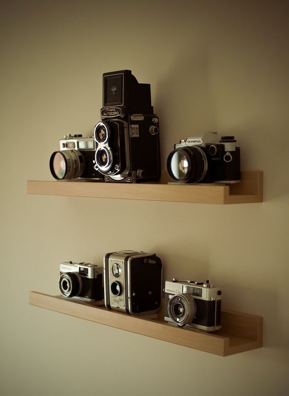 natural wood ledges are right what you need to display vintage cameras simply and with style