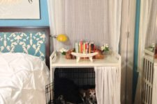 15 Gulliver changing table in white and Matilda sheer curtains turned into a dog crate