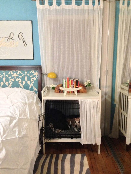 Gulliver changing table in white and Matilda sheer curtains turned into a dog crate