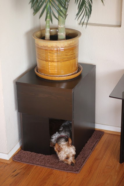 IKEA Malm 2 drawer chest turned into a comfy dog house for a small pet