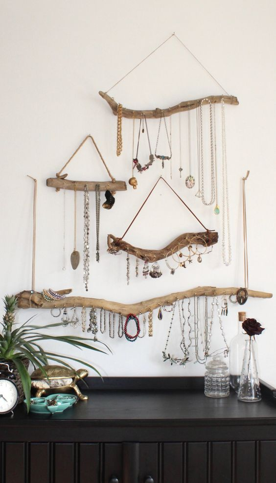 display and organize your accessories on pieces of drifwood as holders