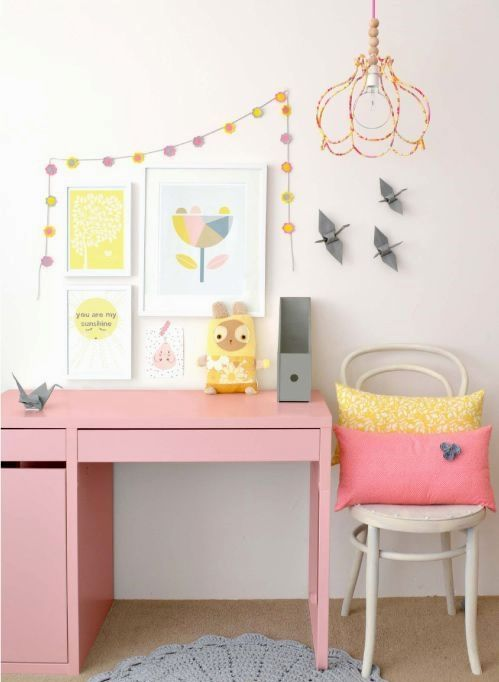 paint the Micke desk in bold pink to make it a perfect fit for your girls' bedroom
