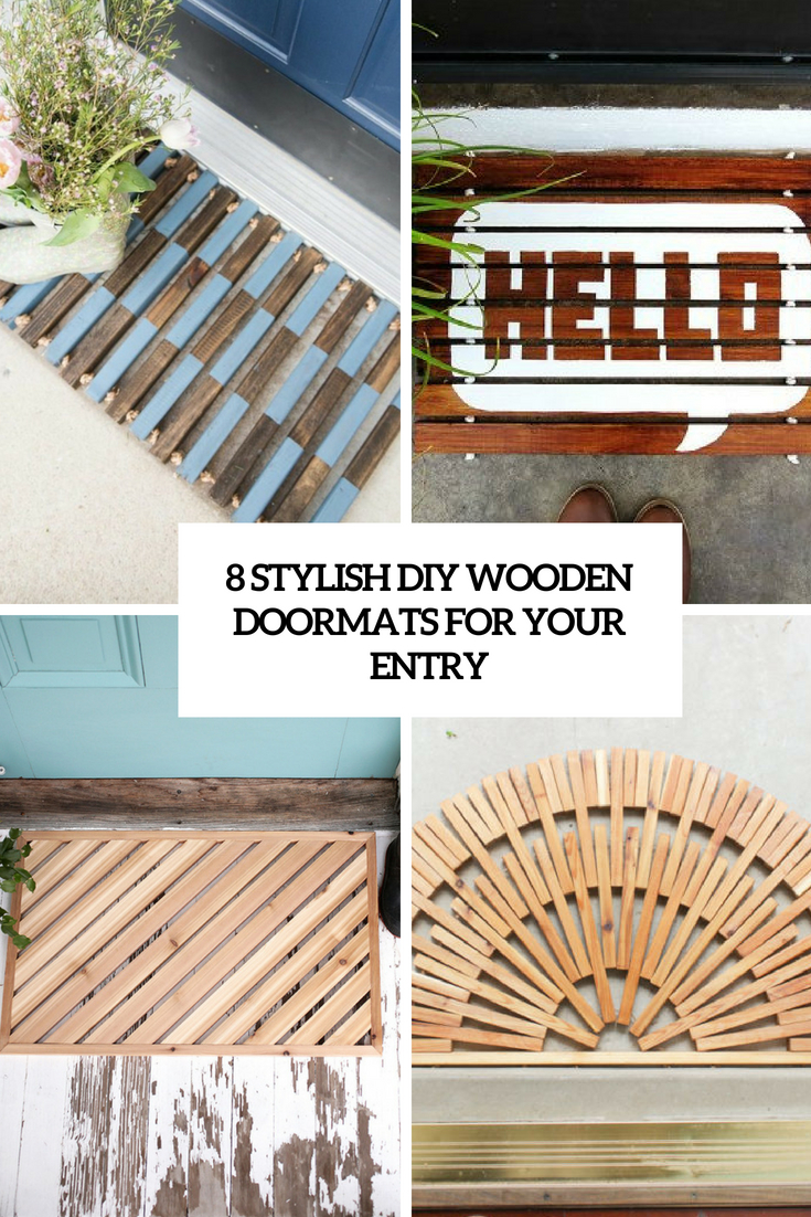 8 stylish diy wooden doormats for your entry cover