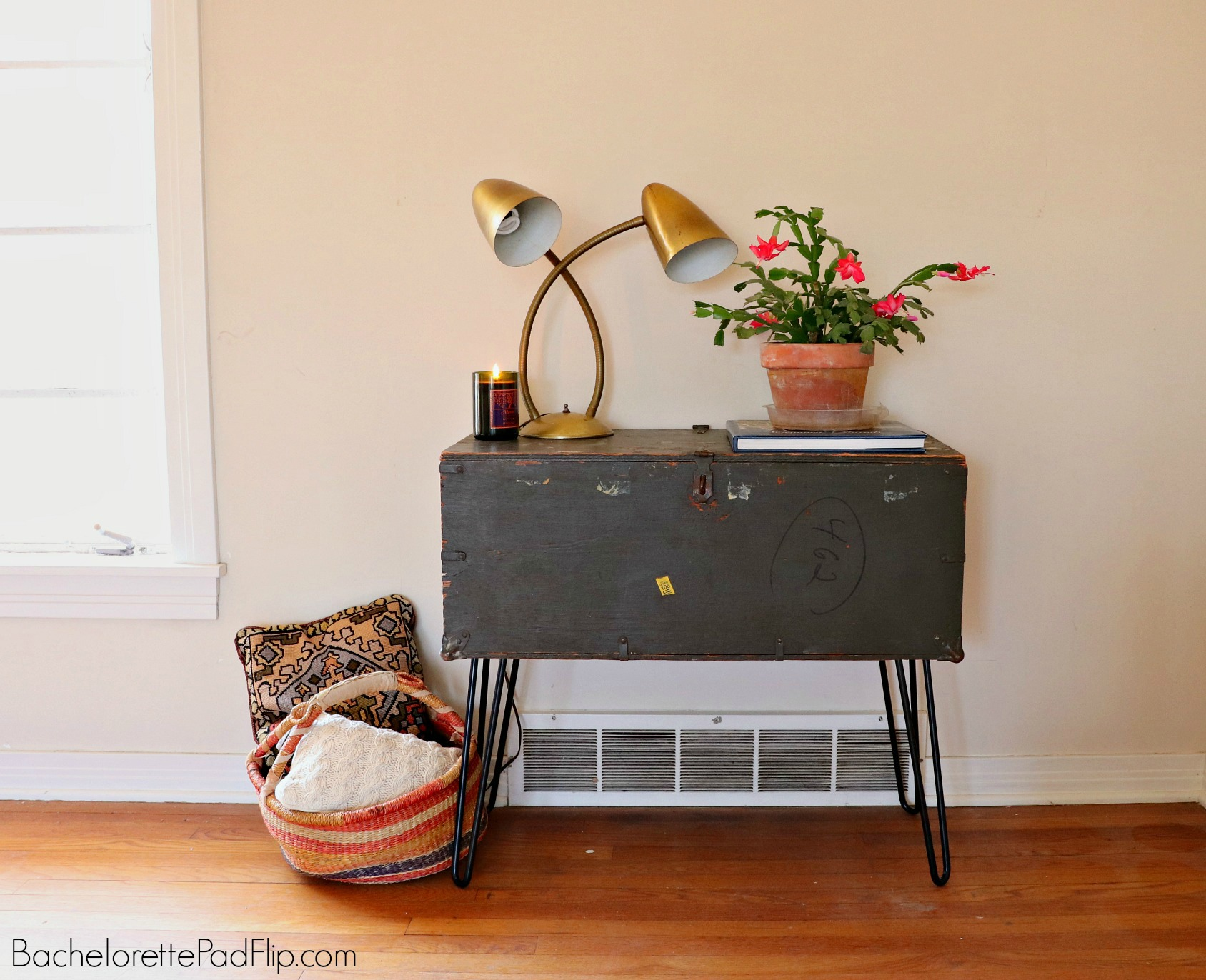 DIY army trunk table with hairpin legs