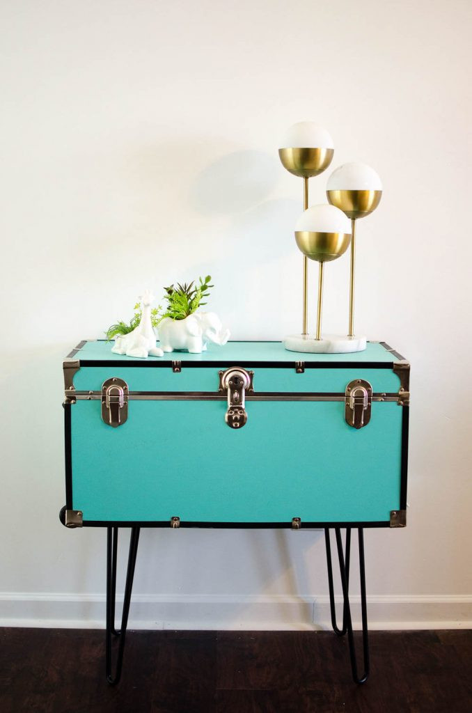 DIY colorful coffee table of a trunk and hairpin legs (via alittlecraftinyourday.com)