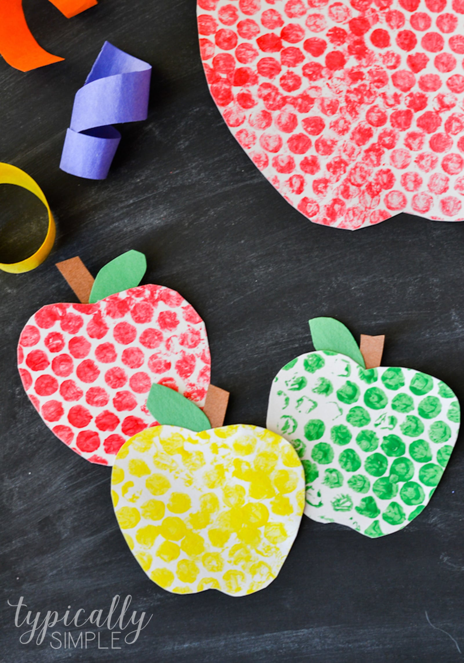 DIY bubble wrap painted apples as cards or decor