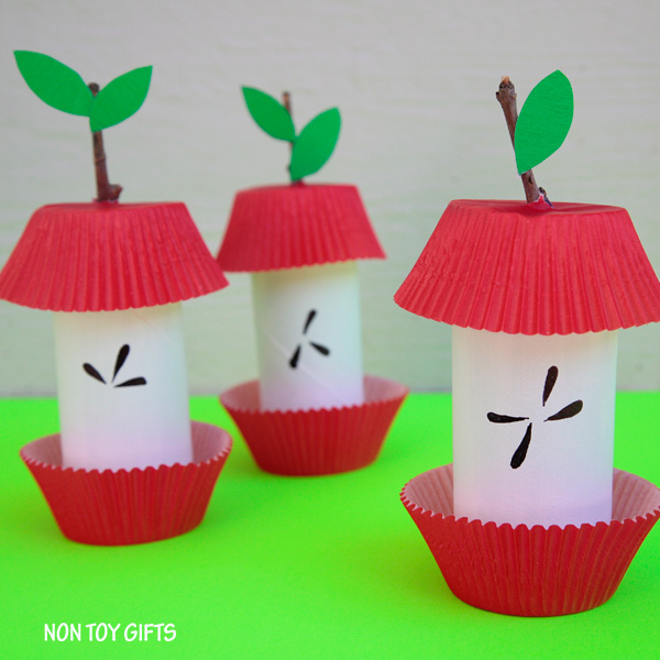 DIY paper roll apple core craft for decor and playing (via nontoygifts.com)