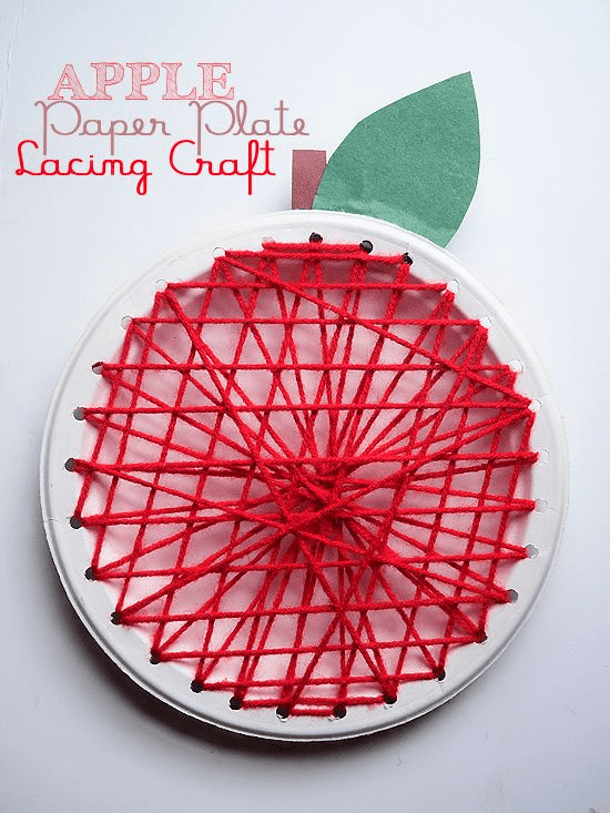 DIY apple paper plate lacing craft (via ourkidthings.com)