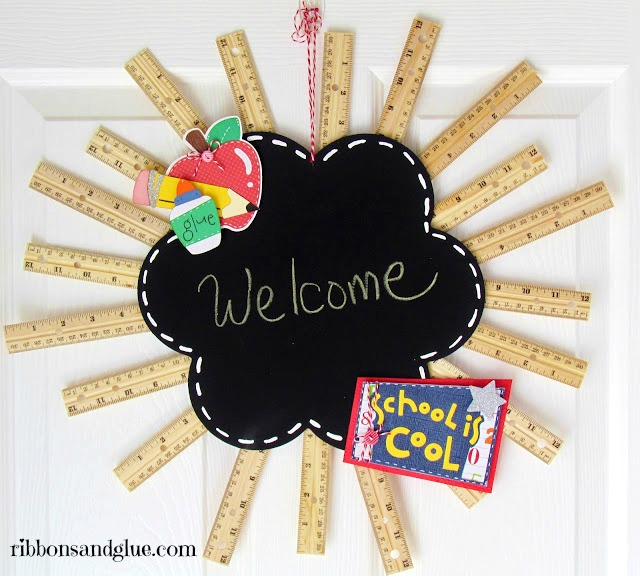 DIY chalkboard ruler wreath with colorful decor (via www.ribbonsandglue.com)