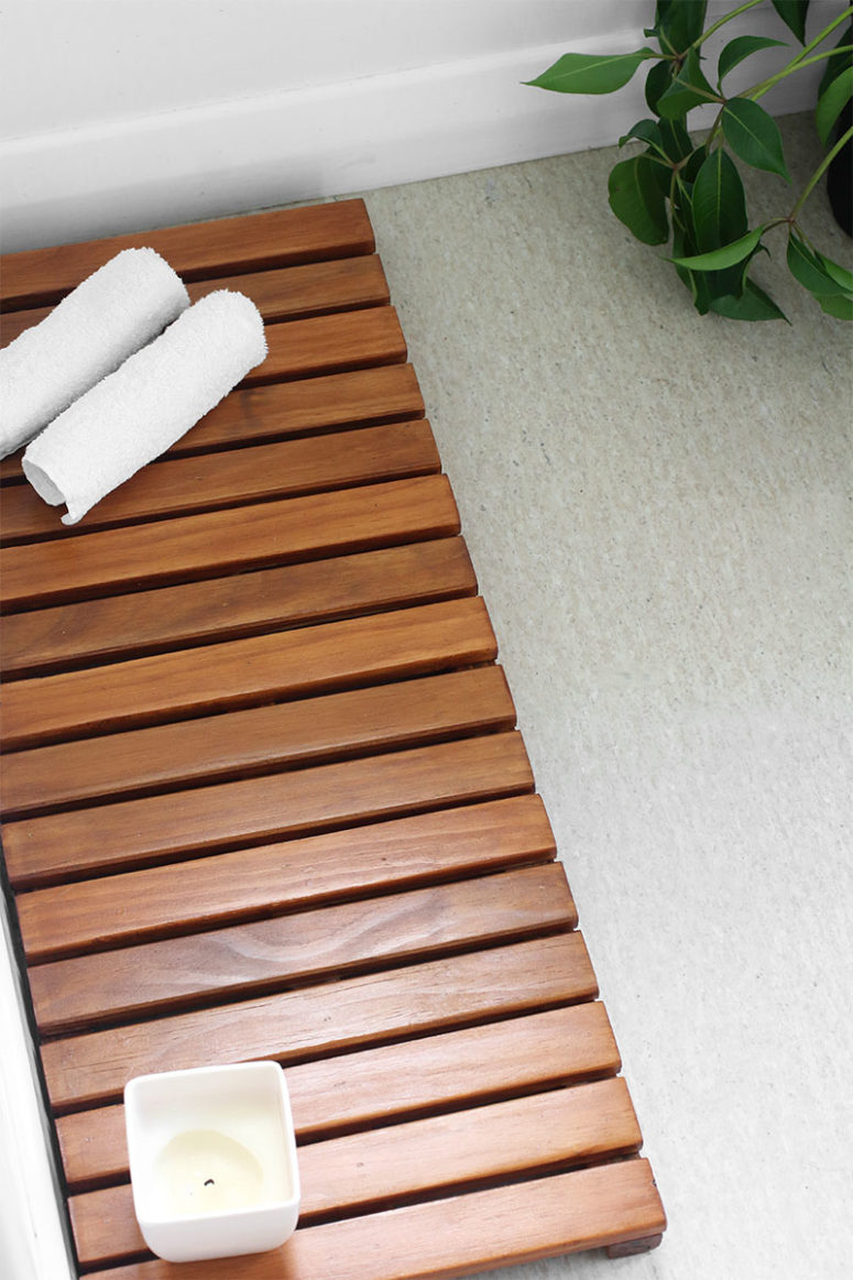 DIY hardwood bathroom mat or a mat of repurposed wooden slats (via eclecticcreative.com.au)