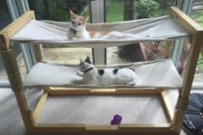 DIY cat bunk bed with two hammocks
