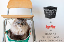 DIY colorful crocheted kitty hammock