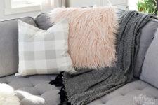 DIY blush fuzzy fur pillowcase