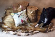 DIY faux fur rug for a rustic touch to your space