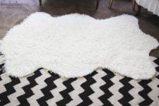 DIY faux fur sheepskin rug