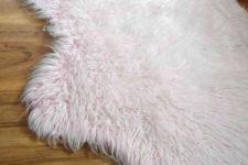 DIY pink non-slip faux fur rug for kids' rooms