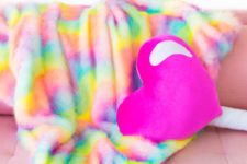 DIY rainbow faux fur blanket with pink backing