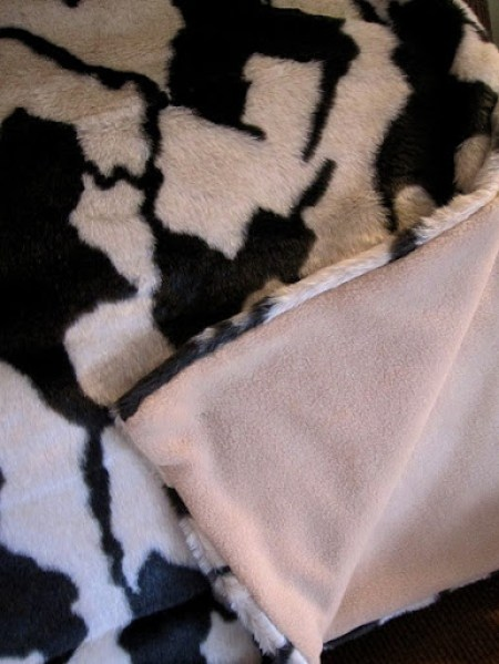 DIY faux fur blanket with backing