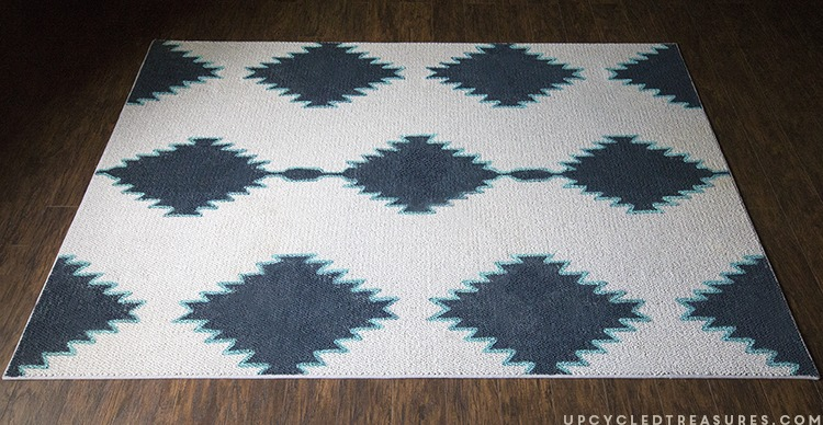 DIY painted rug with a mid century pattern inspired by West Elm