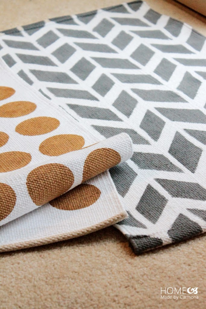 DIY chevron and dot rugs with stencils (via www.homemadebycarmona.com)