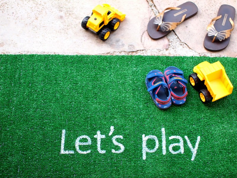DIY Astro Turf rug with letters for a kids' room