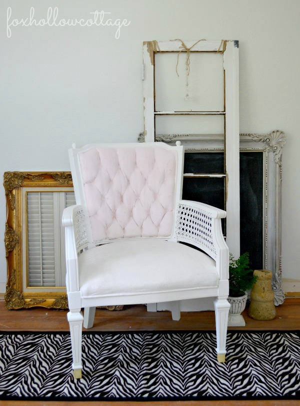 DIY repainted velvet chair in blush (via foxhollowcottage.com)