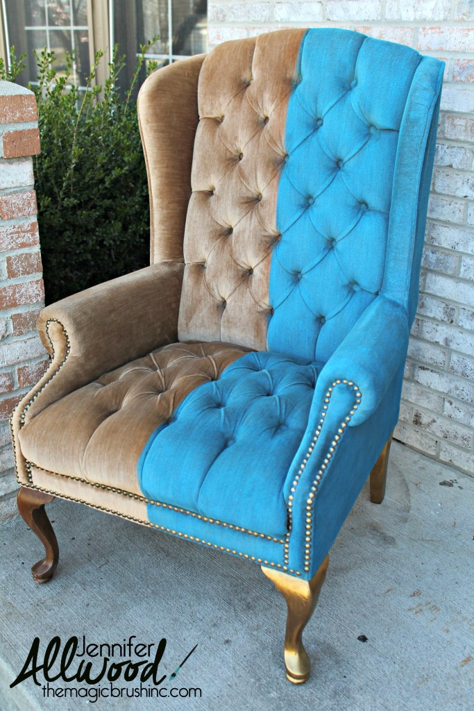 DIY vintage half painted velvet chair