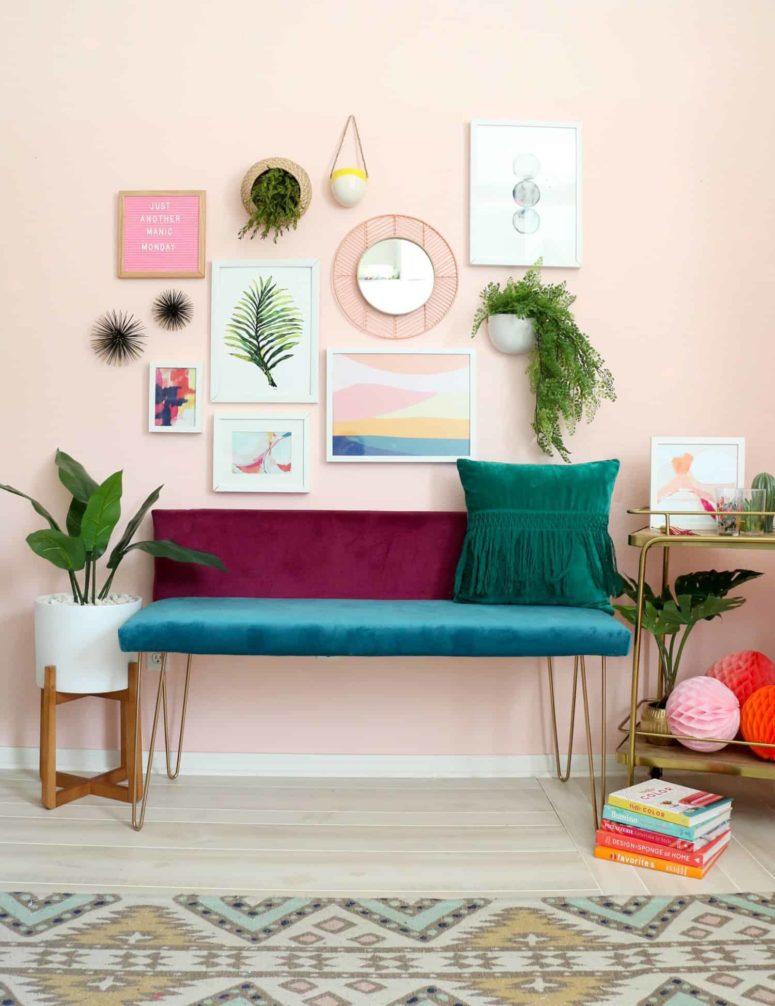 DIY color blocked jewel tone velvet bench (via abeautifulmess.com)