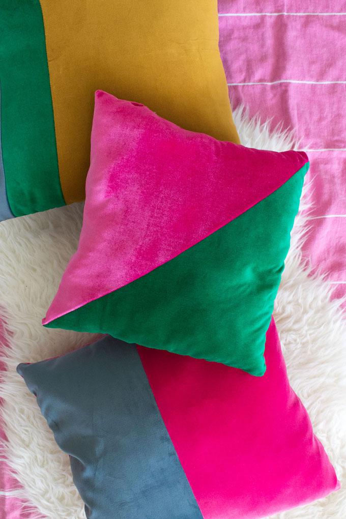 DIY color block geometric jewel tone pillows (via carriecolbert.com)