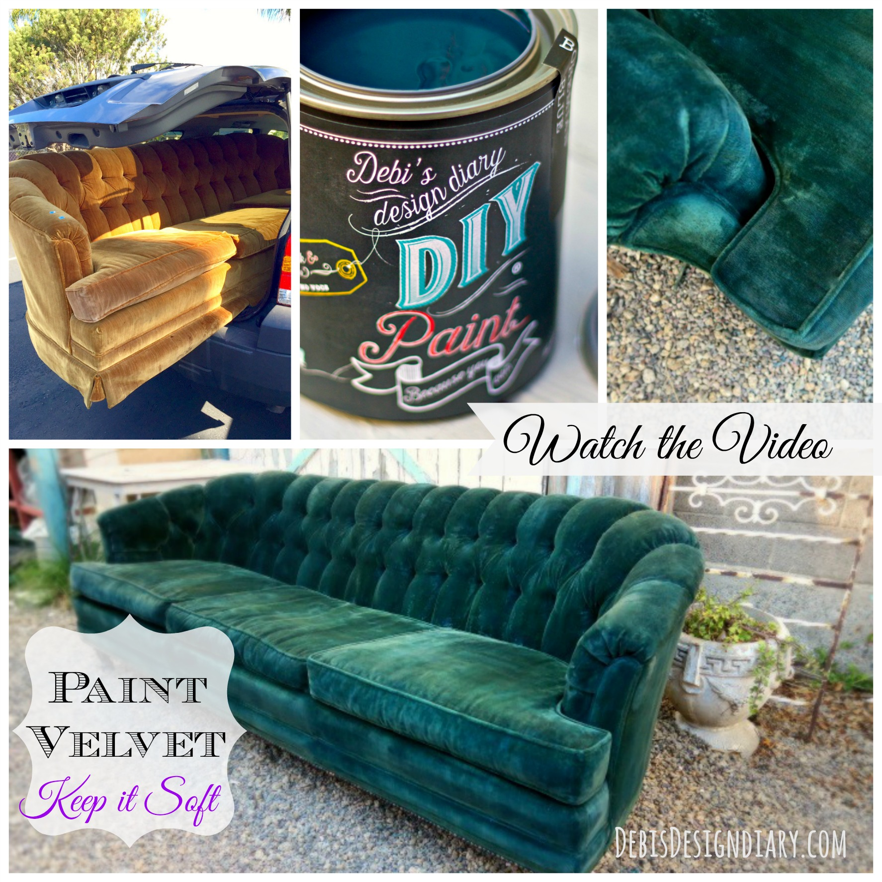 How to repaint an old velvet sofa keeping the texture