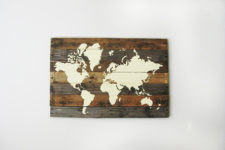 DIY weathered pallet board world map