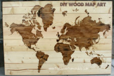 DIY light-colored wood world map with staining