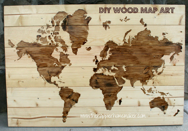 DIY light-colored wood world map with staining (via www.thehappierhomemaker.com)