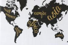 DIY black and white printable world map