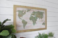 DIY shabby chic wood or canvas world map