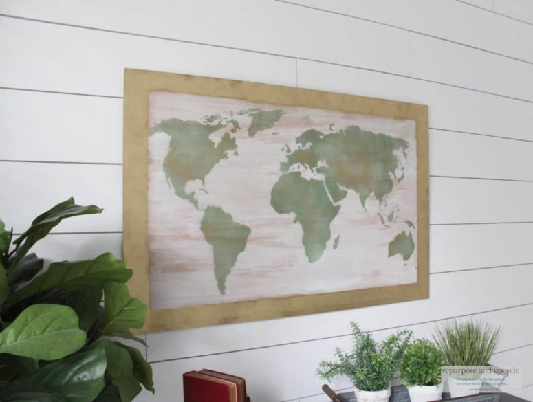 DIY shabby chic wood or canvas world map (via repurposeandupcycle.com)