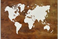 DIY plwyood stenciled map world art