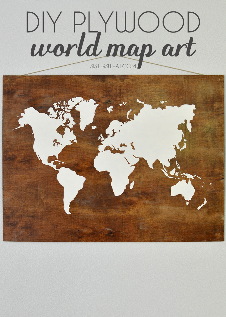 DIY plwyood stenciled map world art